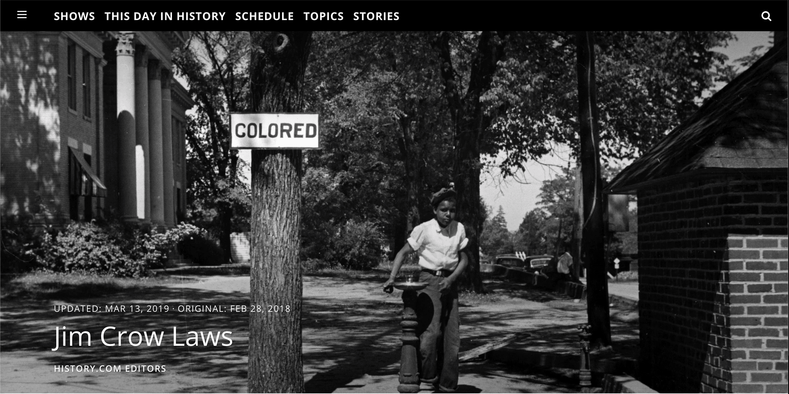 Screenshot of Jim Crow Laws by History.com